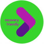 Green and purple Recovery Friendly Workplace logo